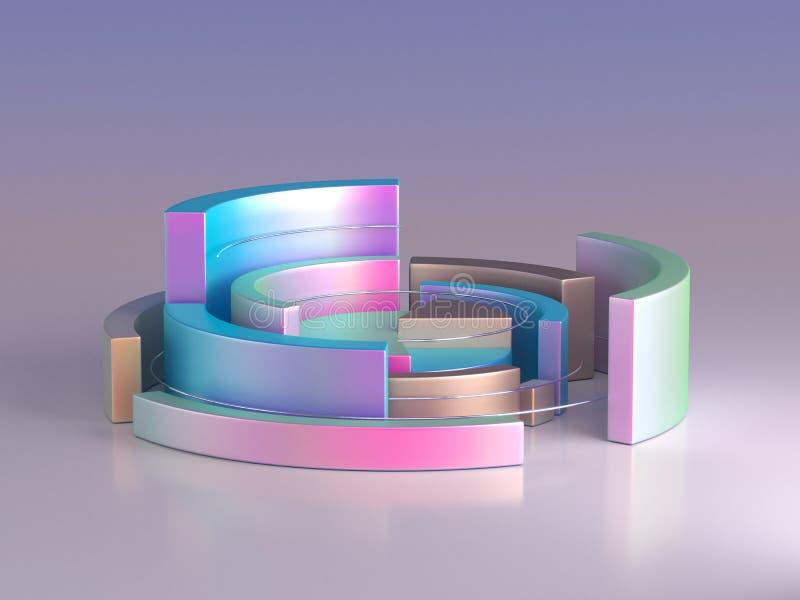 3d rendant le fond géométrique abstrait Forme de diagramme Moquerie minimalistic moderne, calibre vide illustration de vecteur