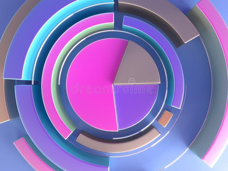 3d rendant le fond géométrique abstrait Forme de diagramme Moquerie minimalistic moderne, calibre vide illustration libre de droits