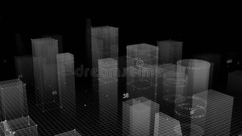 3D rendant le fond numérique technologique se composant d'une ville futuriste avec des données illustration libre de droits