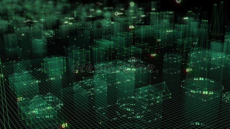 3D rendant le fond numérique technologique se composant d'une ville futuriste avec des données illustration stock