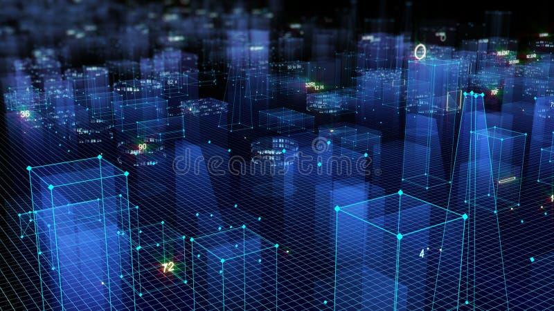 3D rendant le fond numérique technologique se composant d'une ville futuriste avec des données illustration de vecteur