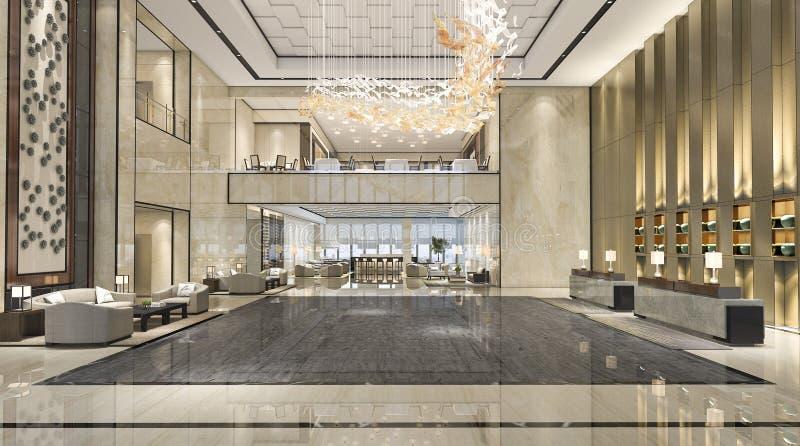 3d rendant le hall de réception d'hôtel de luxe et le restaurant de salon photos libres de droits