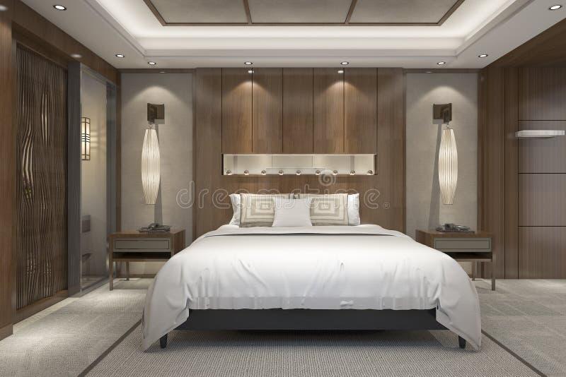 Download 3d rendant le mobilier pour chambre à coucher de luxe moderne dans la station de