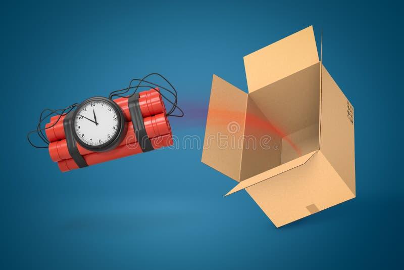 3d rendant le paquet de dynamite avec le vol de bombe de minuterie hors de la boîte en carton, suspendue en air sur le fond bleu illustration stock