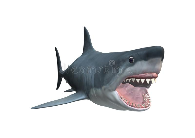 3D rendant le requin de Megalodon sur le blanc illustration libre de droits