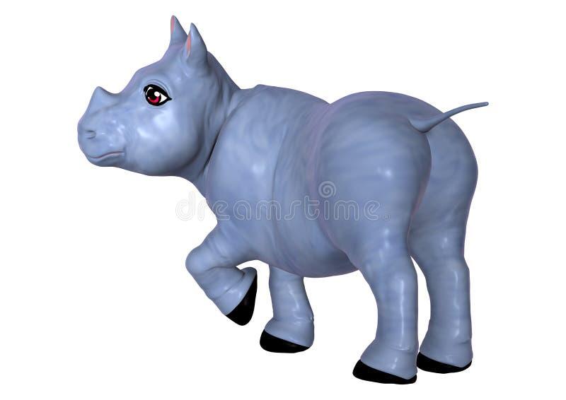 3D Rendant Le Rhinocéros Bleu Sur Le Blanc Illustration Stock ...