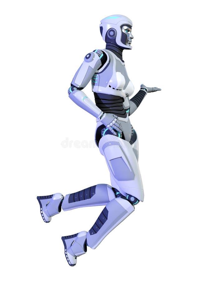 3D rendant le robot femelle sur le blanc illustration libre de droits