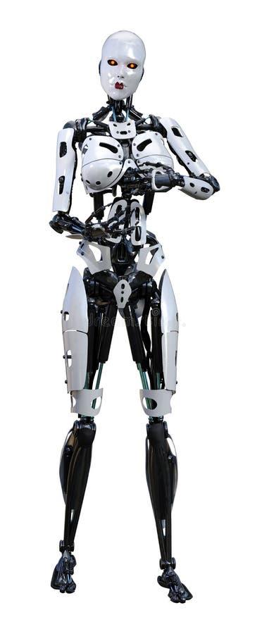 3D rendant le robot femelle sur le blanc illustration de vecteur