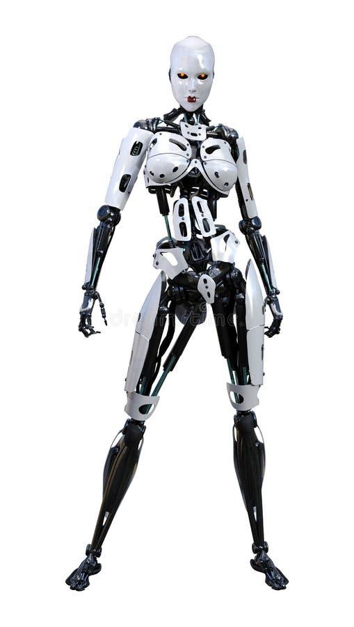 3D rendant le robot femelle sur le blanc illustration stock