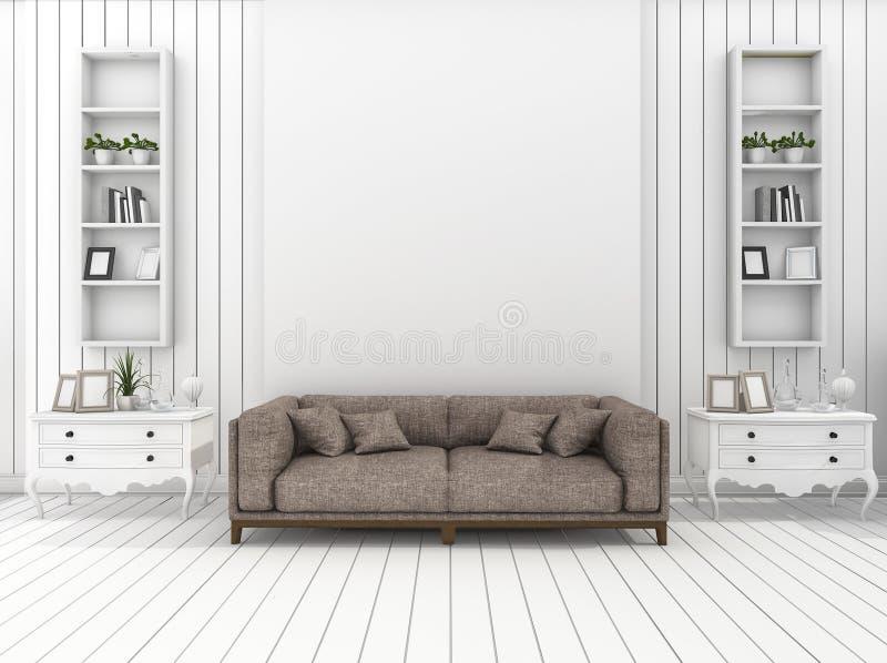 3D Rendant Le Salon Moderne Blanc De Mur Avec La Décoration