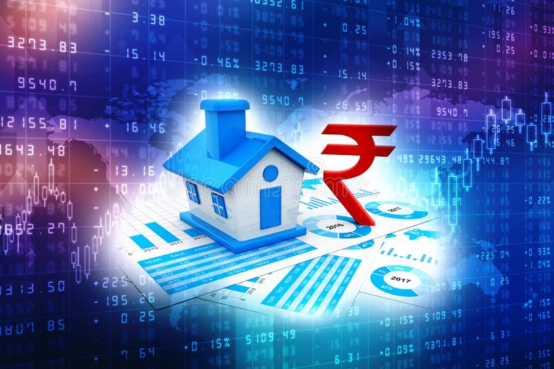3D rendant le secteur immobilier, Chambre sur la roupie indienne illustration libre de droits