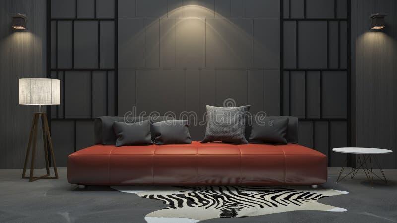 3d rendant le sofa rouge dans la chambre noire photo stock