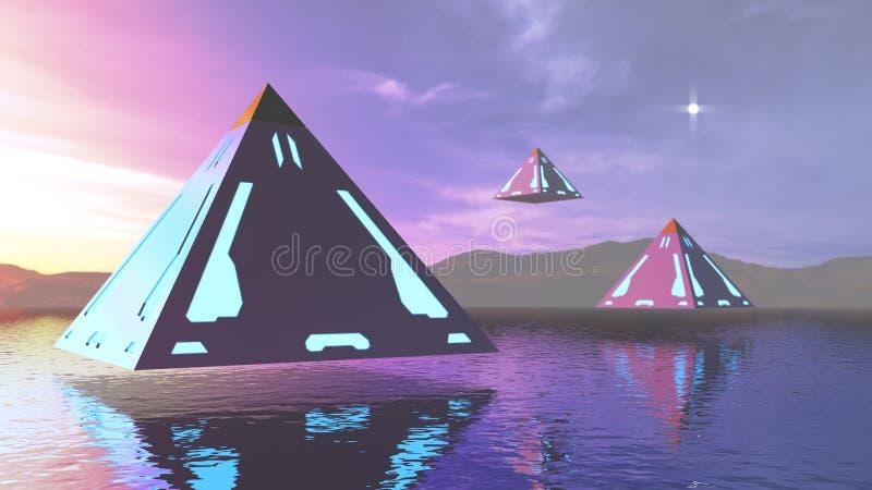 3D rendant les pyramides abstraites d'imagination en surface photo stock