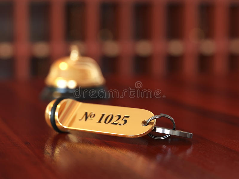 3d rende of hotel room key with golden lable room number on the vector illustration