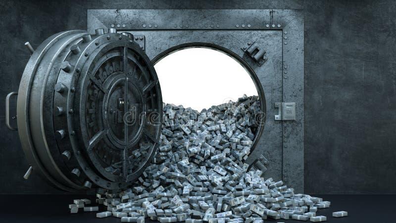 3d rendem a abertura da porta do cofre-forte no banco com muito dinheiro ilustração royalty free