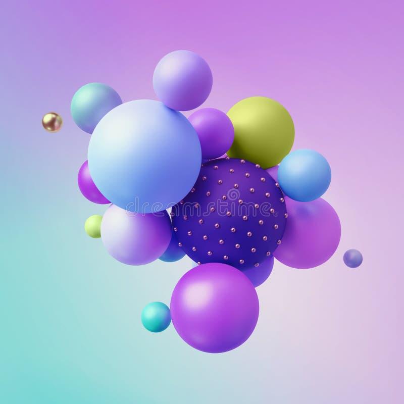3d rendem, abstraem o fundo geométrico colorido, bolas coloridos, formas primitivas, projeto minimalistic, cores de néon pasteis ilustração stock