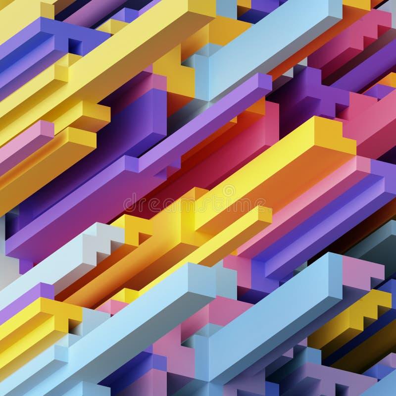 3d rendem, abstraem o fundo geométrico de néon, formas do cubo, papel de parede moderno do voxel ilustração do vetor