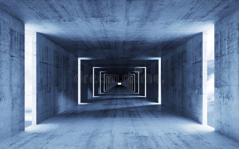 3d rendem, abstraem o interior concreto azul vazio ilustração stock