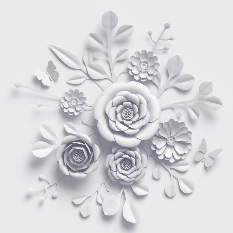 3d rendem, as flores de papel do casamento branco, ramalhete floral, fundo botânico, ofício de papel ilustração royalty free