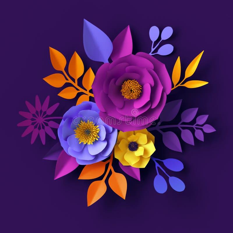 3d rendem, as flores de papel de néon, fundo botânico, conceito do feriado do boho, projeto floral decorativo da parede, ramalhet ilustração do vetor