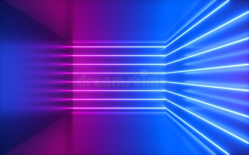 3d rendem, as linhas de néon cor-de-rosa, canto dentro da sala vazia, espaço virtual, luz ultravioleta, estilo dos anos 80, inter fotos de stock royalty free