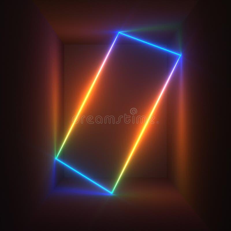 3d rendem, as luzes de néon, espectro do arco-íris, mostra do laser, iluminação, linhas retangulares de incandescência, fundo flu fotos de stock