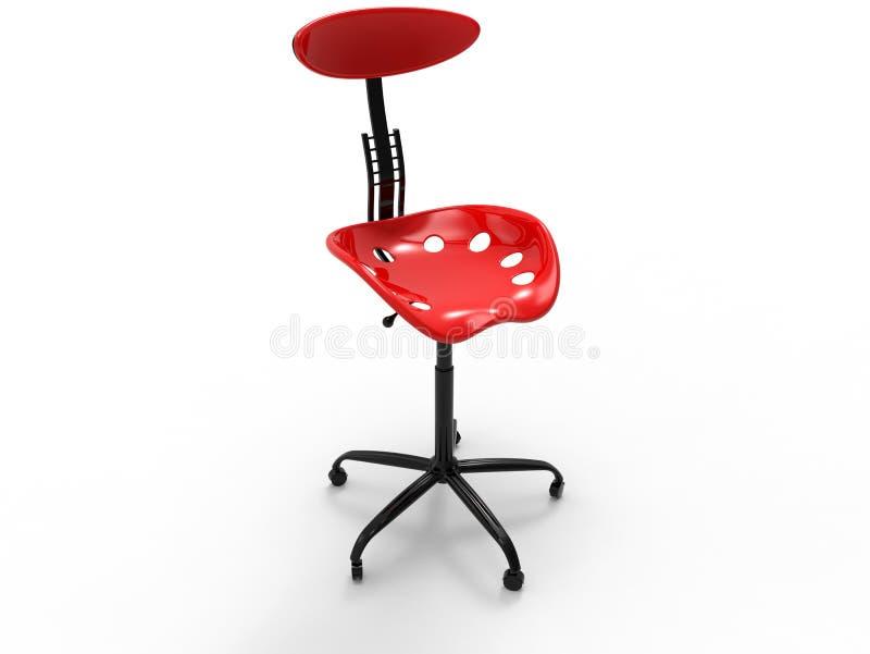 3D rendem - a cadeira simples vermelha do escritório ilustração do vetor