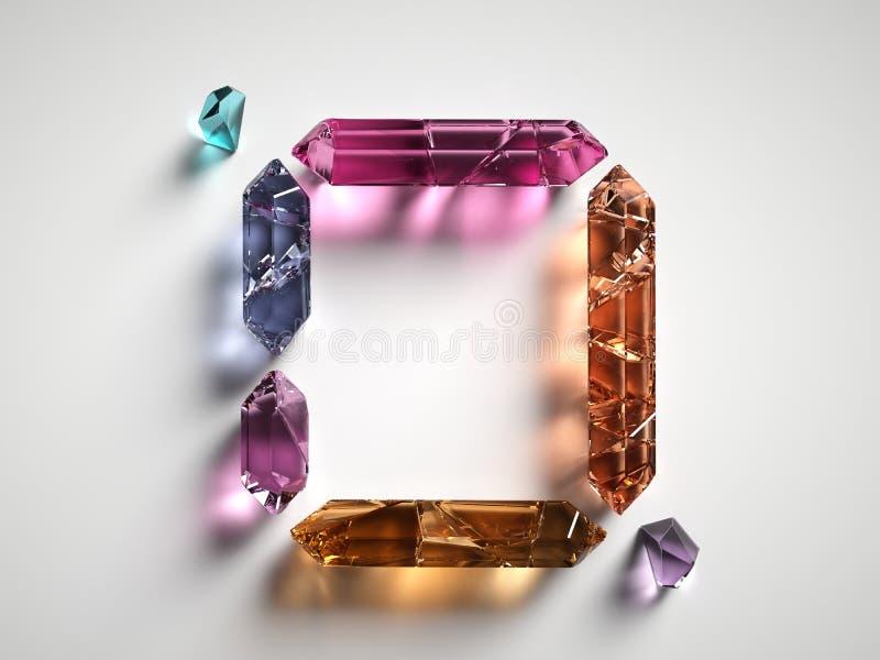 3d rendem, classificaram os cristais espirituais coloridos isolados no fundo branco, pedras preciosas, quartzo cura, forma quadra ilustração stock