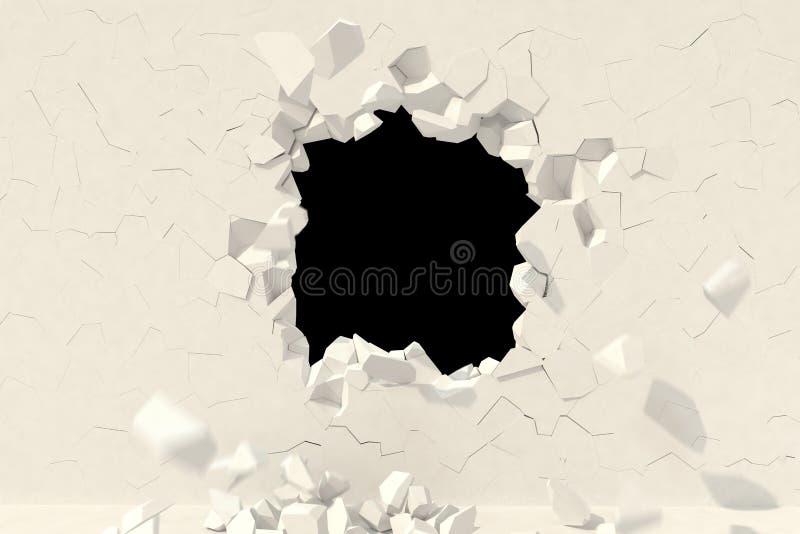3d rendem Conceito criativo do fundo: destruição de uma parede ilustração stock