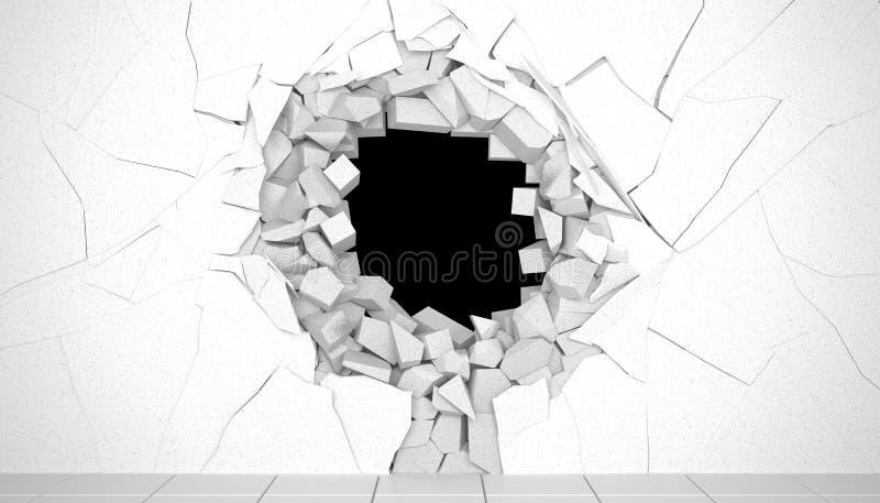 3d rendem Conceito criativo do fundo: destruição de uma parede ilustração royalty free