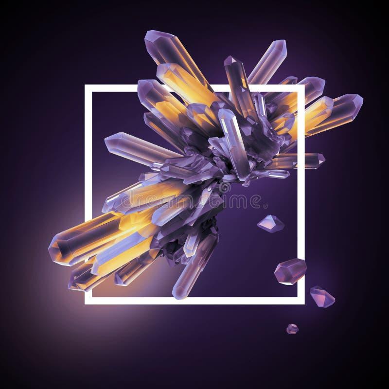 3d rendem, cristais abstratos dentro do quadro quadrado, fundo moderno de pedra preciosa, pepita, clipart esotérico ilustração do vetor