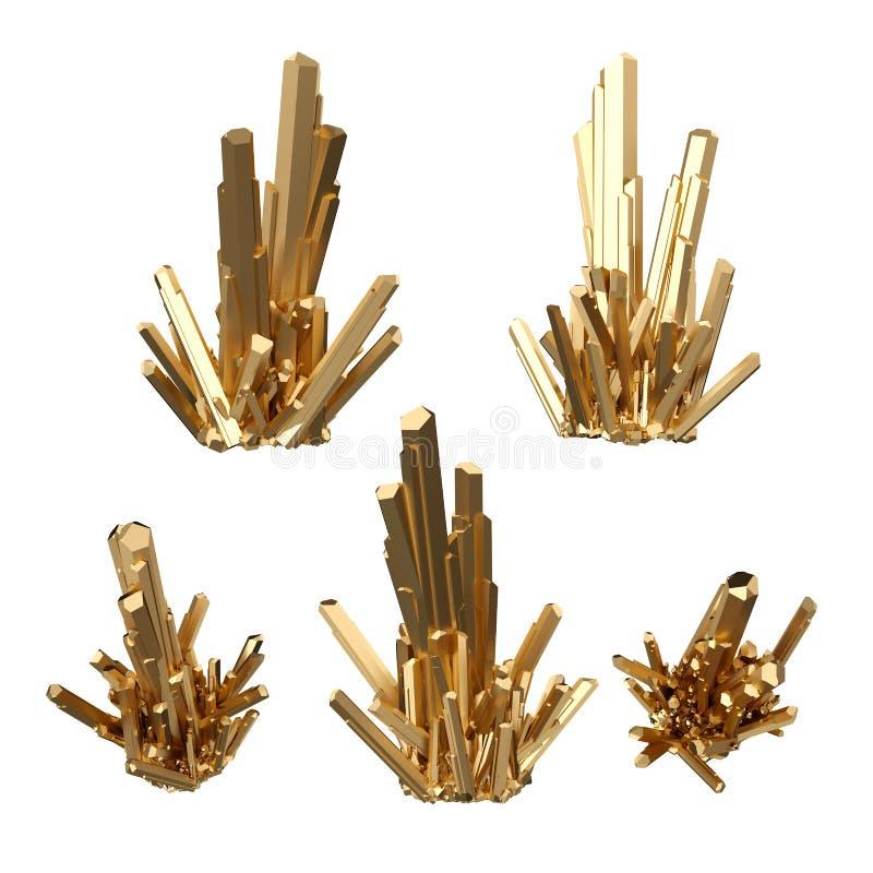 3d rendem, cristais abstratos do ouro, opinião de perspectiva, pepita dourada, elemento esotérico do projeto, clipart isolado no  ilustração stock