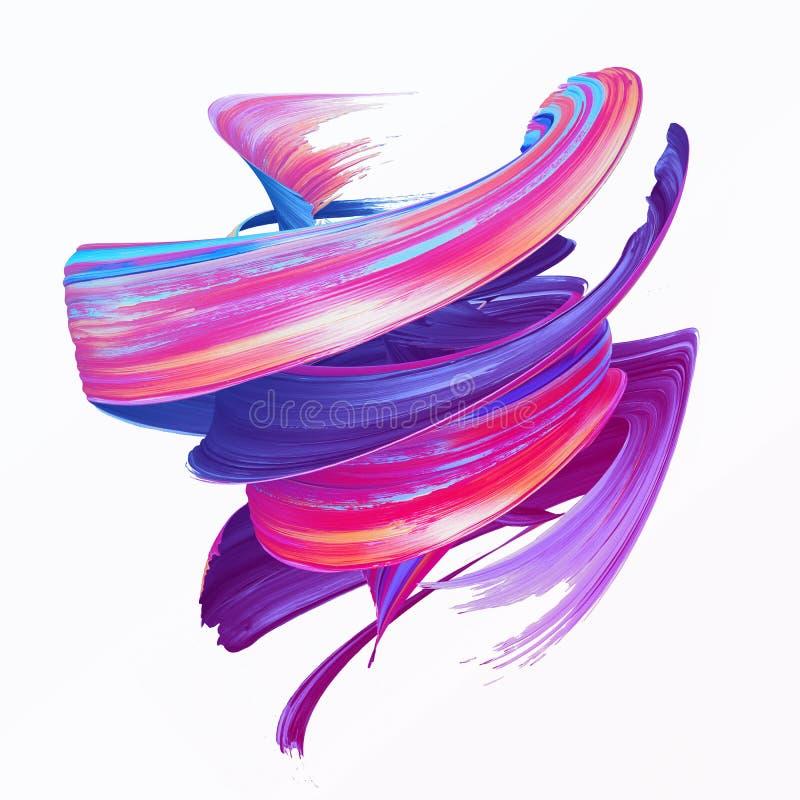 3d rendem, curso abstrato da escova, clipart criativo da mancha, respingo da pintura, dinâmica chapinham, onda colorida, fita ar ilustração stock