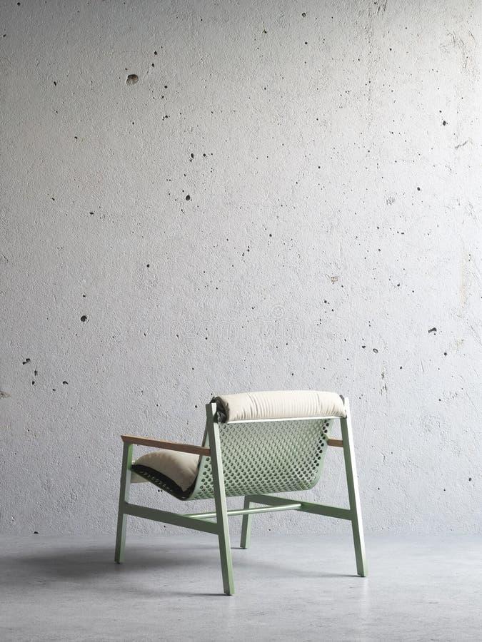 3d rendem da cadeira no interior concreto imagem de stock