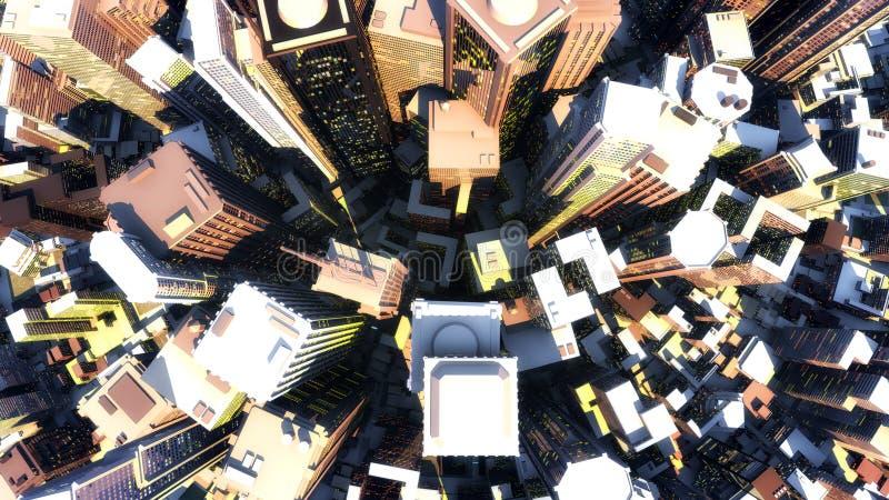 3D rendem da cidade ilustração do vetor