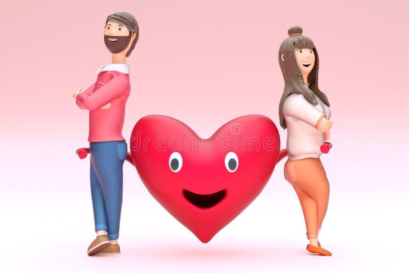 3D rendem da forma feliz do coração que guarda o caráter de amor dos pares ilustração do vetor