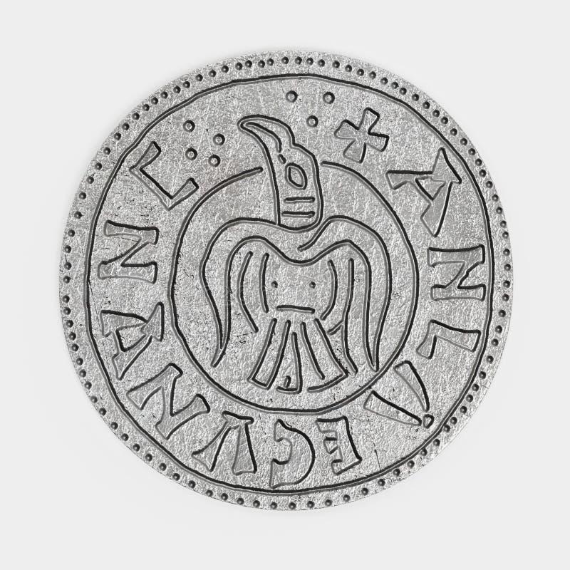 3d rendem da moeda de um centavo de prata ilustração royalty free