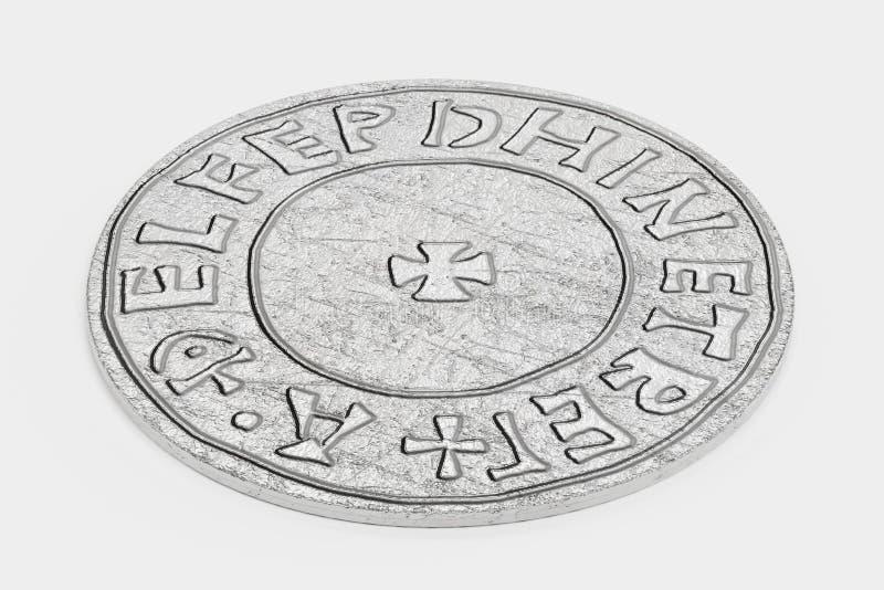 3d rendem da moeda de um centavo de prata ilustração do vetor