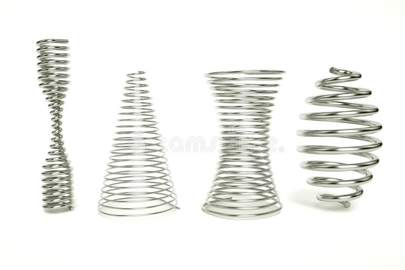 3d rendem da mola do tambor, afilado as molas, mola da clepsidra Ajuste das molas de compressão realísticas do metal isoladas no  ilustração stock