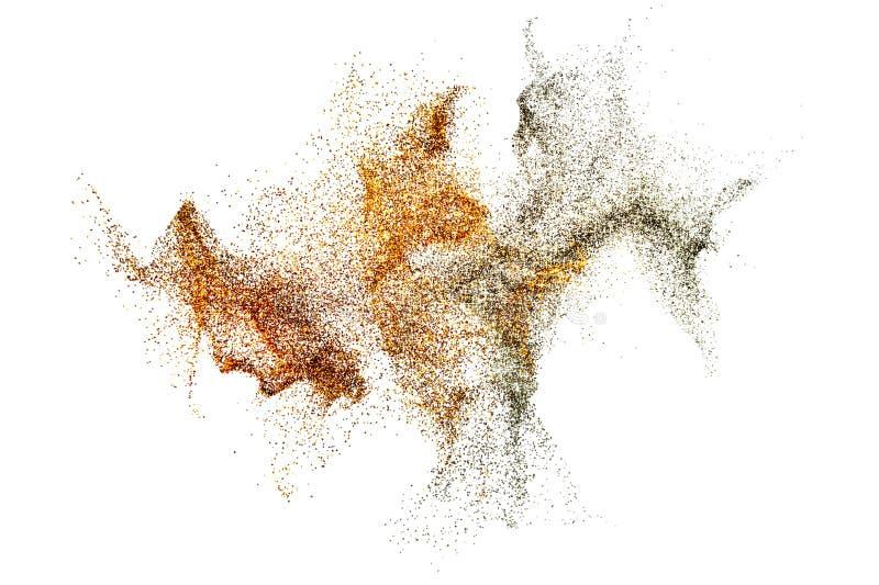 3D rendem da partícula de poeira misturada dourada e de prata abstrata do respingo ilustração do vetor
