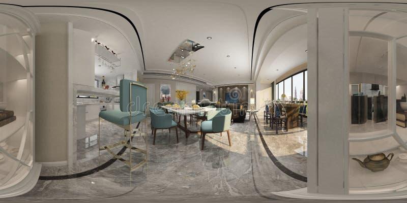 3D rendem da sala de visitas moderna ilustração do vetor