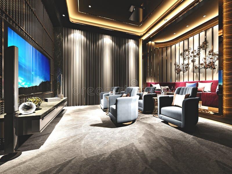 3d rendem da sala do cinema ilustração royalty free
