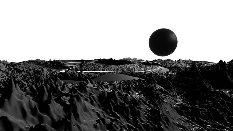 3d rendem da superfície abstrata do planeta Sci detalhado mesmo fi ou fundo da ficção científica em greyscale como a lua ilustração stock