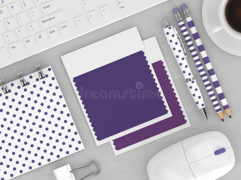 3d rendem da vista superior de amostras de folha da cor dos artigos de papelaria e da matéria têxtil ilustração stock