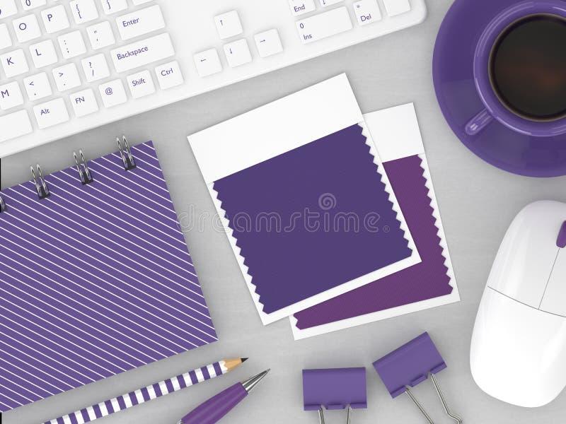 3d rendem da vista superior de amostras de folha da cor dos artigos de papelaria e da matéria têxtil ilustração do vetor
