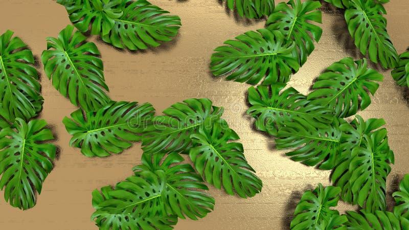 3D rendem das folhas real?sticas do monstera no fundo do ouro para a ilustra??o cosm?tica do an?ncio ou da forma Quadro tropical  fotos de stock