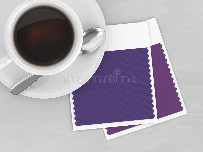 3d rendem de amostras de folha da cor do café e da matéria têxtil da vista superior ilustração royalty free