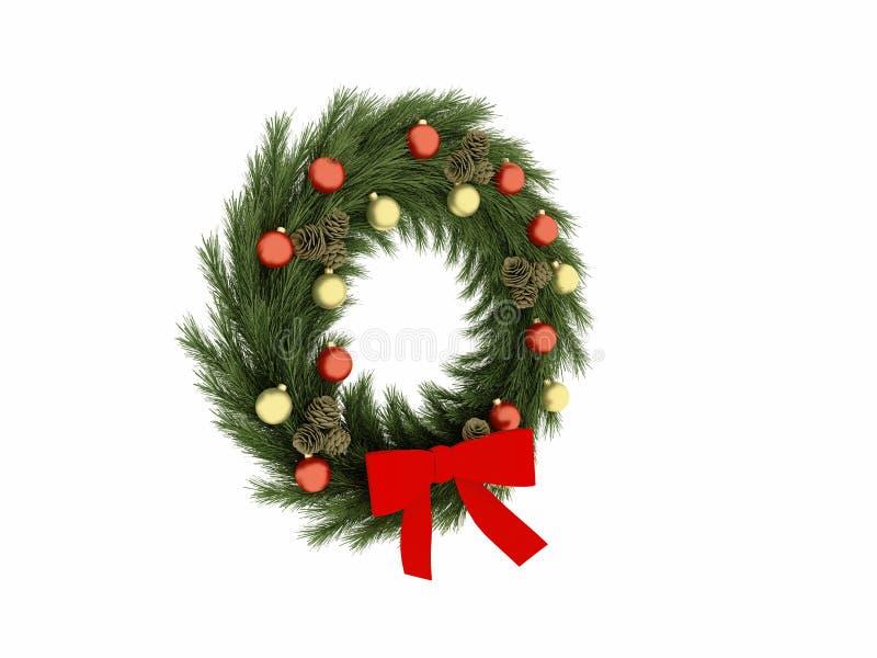 3d rendem de bolas do Natal com círculo ilustração stock