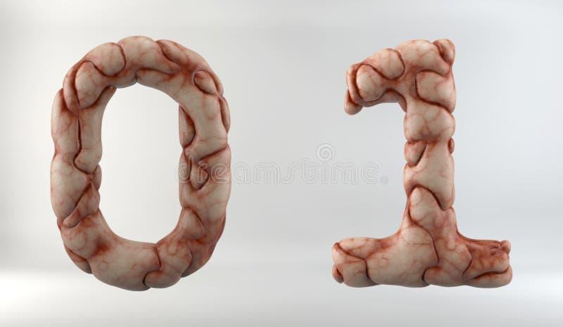 3D rendem de Brain Alphabet ilustração royalty free