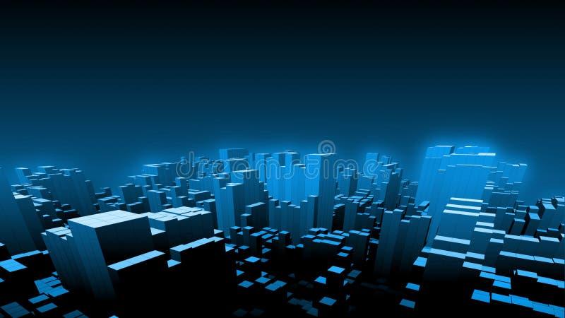 3D rendem de caixas do cubo formam acima de uma forma da grande arquitetura da cidade digital na noite com fundo macio do céu azu ilustração do vetor